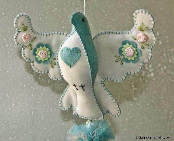 Роскошный голубь из фетра. Шаблон (2) (580x468, 121Kb)