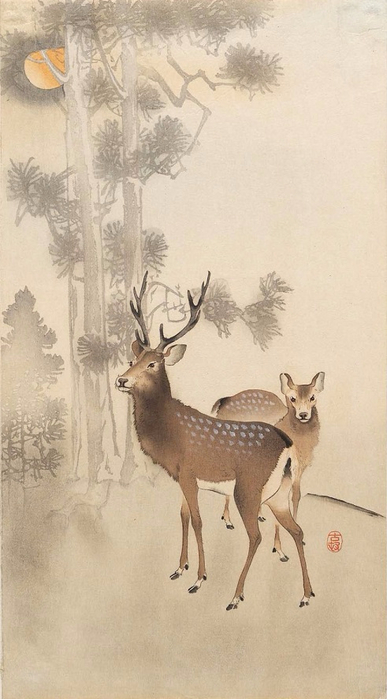 Two deer, pine and moon (387x700, 233Kb)