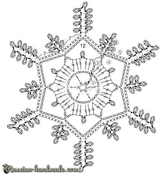 Рождественский венок из вязаных снежинок (6) (550x582, 204Kb)