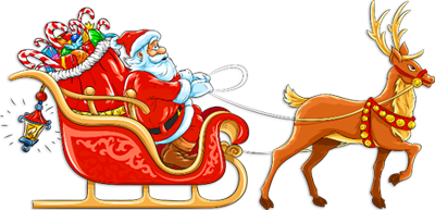 Transparent_Santa_with_Sleigh_and_Deer_Clipart (400x193, 132Kb)