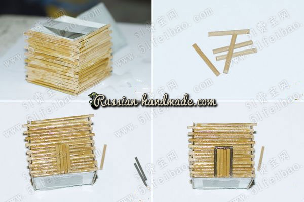 Домик из картона, бамбуковой салфетки и шишек (5) (600x400, 140Kb)