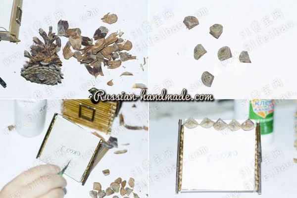 Домик из картона, бамбуковой салфетки и шишек (9) (600x400, 148Kb)