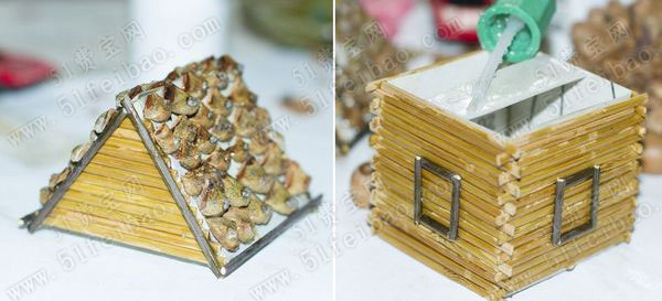 Домик из картона, бамбуковой салфетки и шишек (11) (600x273, 118Kb)