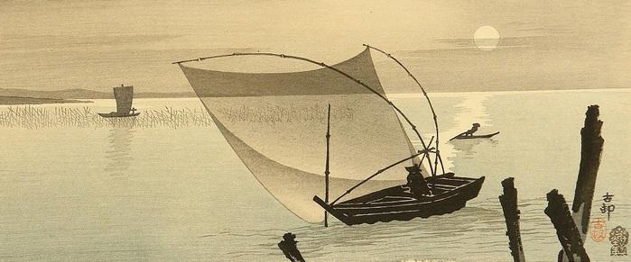 Рыбаки на рассвете. (700x291, 86Kb)