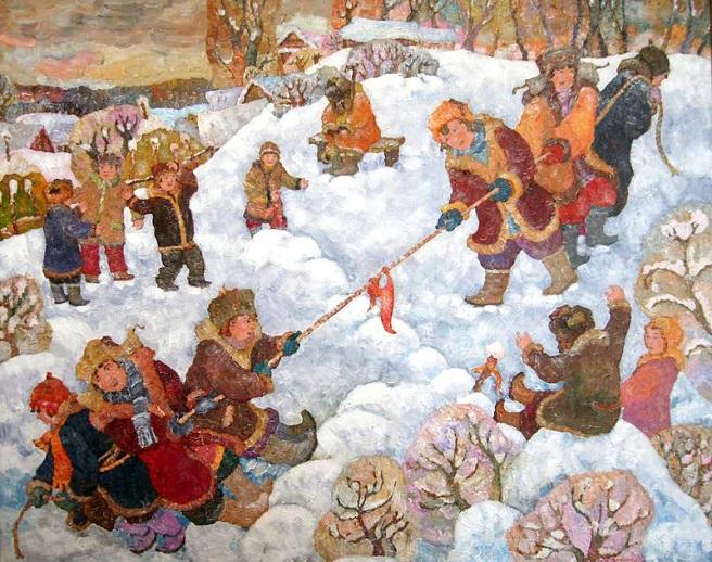 Зимняя забава. Перетягивание каната (656x518, 409Kb)