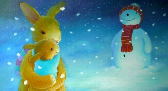 Mother Baby Rabbit Snowman Younger Children's Book Illustration Alison Edgson (700x377, 234Kb)