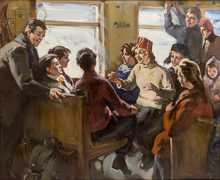 Ломакин Олег Леонидович (1924 - 2011) -  В поезде     Train To The Slope (700x573, 448Kb)