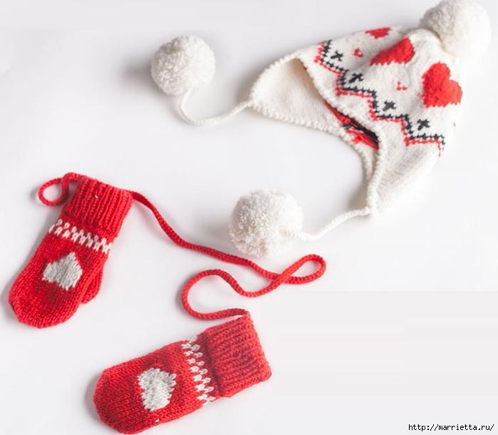 Спицами. Детская шапка и варежки с сердечками (1) (700x610, 180Kb)