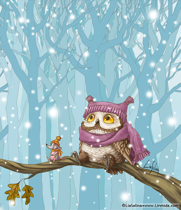 the_owl_s_first_snow_by_liaselina-d6x6cgl (601x700, 459Kb)
