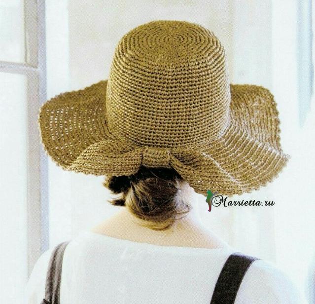 Летняя соломенная шляпка крючком. Схема вязания (1) (639x616, 362Kb)