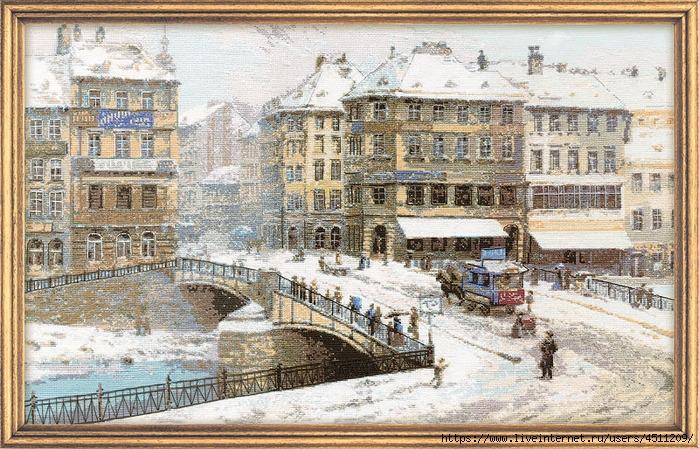 Вышивка город в снегу 81