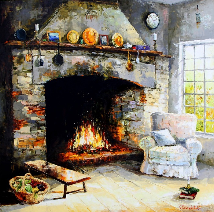 Fireplace in country house (700x694, 562Kb)
