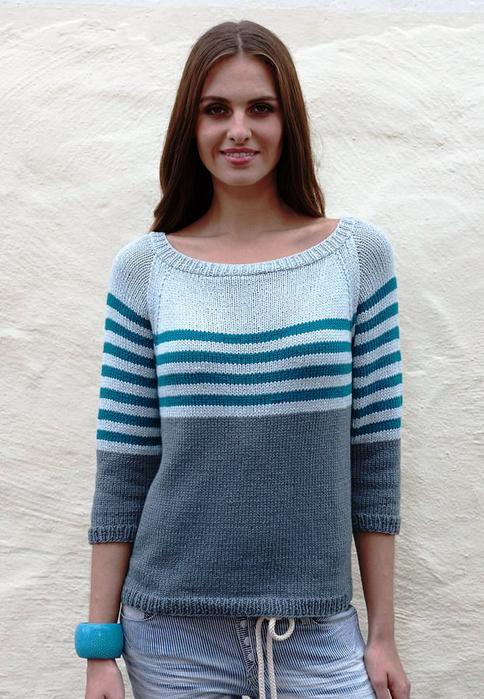 Прочтой пуловер с полосками спицами