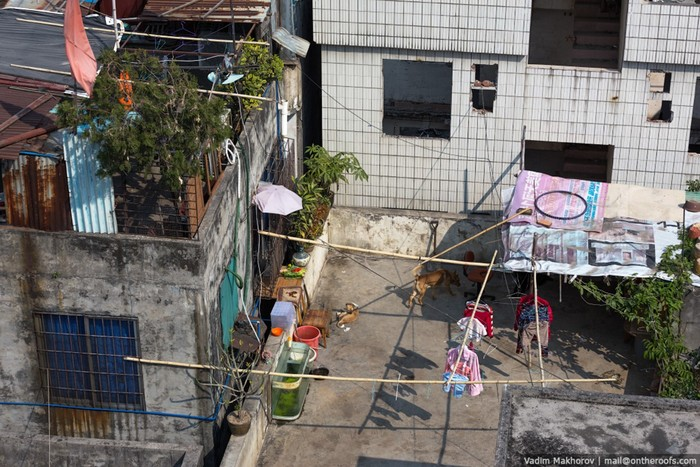 Китайский город Гуанчжоу: крыши и трущобы