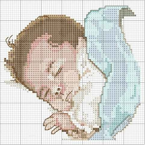 Вышивка метрика младенец на руках 26