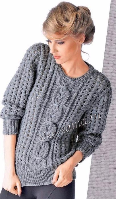 Seryi-zhenskii-pulover-s-kosami-foto (408x700, 274Kb)