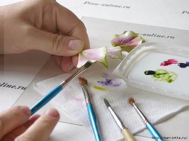 Орхидея Леди Слиппер из полимерной глины44) (640x479, 194Kb)