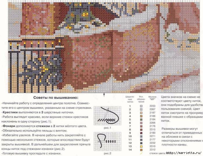 Схема вышивки мостика
