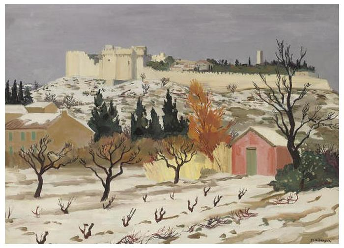 1Yves Brayer (1907-1990).Le fort Villeneuve-les-Avignon sous la neige. Oil on canvas. 73.6 x 100.4cm. Painted in 1962 (700x506, 59Kb)
