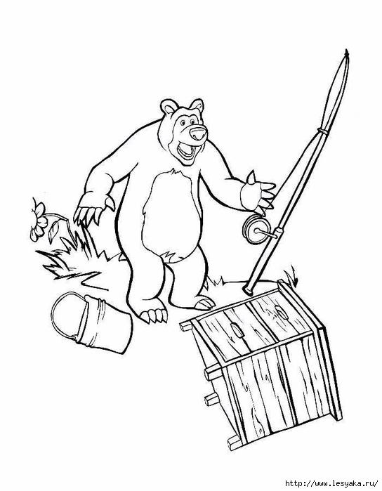 Маши медведь раскраска