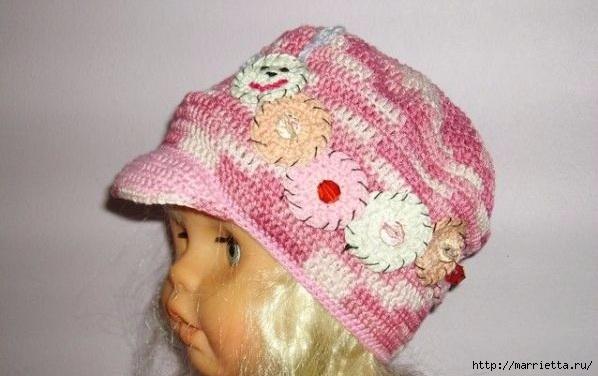 Гусеница на шапочке. Аппликация на детской одежде (3) (598x376, 127Kb)