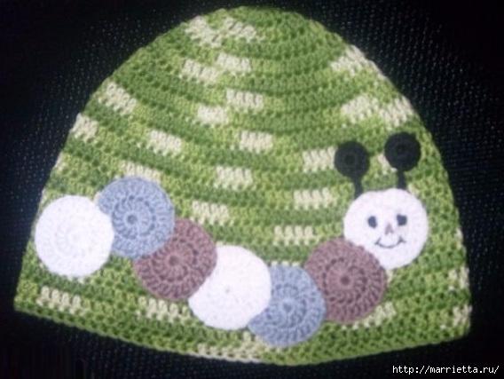 Гусеница на шапочке. Аппликация на детской одежде (5) (568x427, 143Kb)