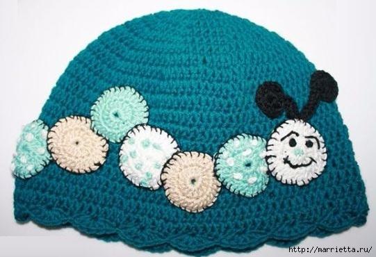 Гусеница на шапочке. Аппликация на детской одежде (7) (541x370, 133Kb)