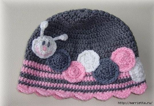 Гусеница на шапочке. Аппликация на детской одежде (13) (537x370, 175Kb)