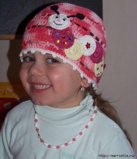 Гусеница на шапочке. Аппликация на детской одежде (17) (447x520, 108Kb)