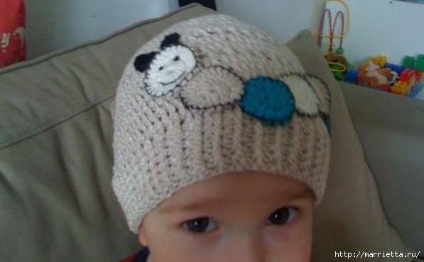 Гусеница на шапочке. Аппликация на детской одежде (21) (597x370, 102Kb)