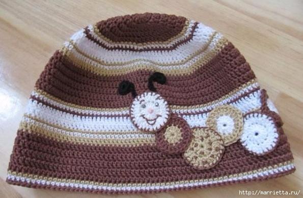 Гусеница на шапочке. Аппликация на детской одежде (23) (595x389, 155Kb)