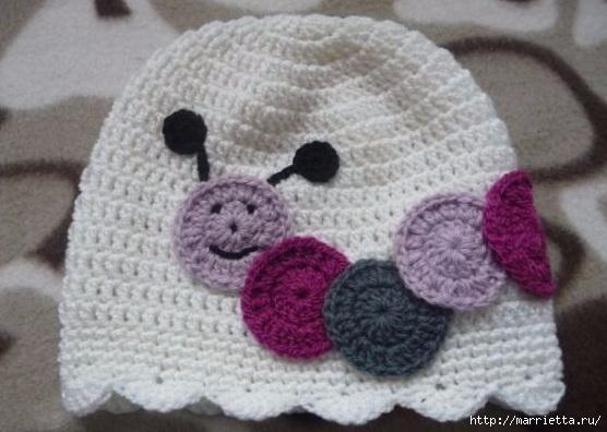 Гусеница на шапочке. Аппликация на детской одежде (25) (556x396, 131Kb)