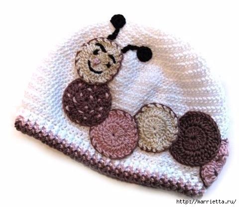 Гусеница на шапочке. Аппликация на детской одежде (29) (480x415, 105Kb)