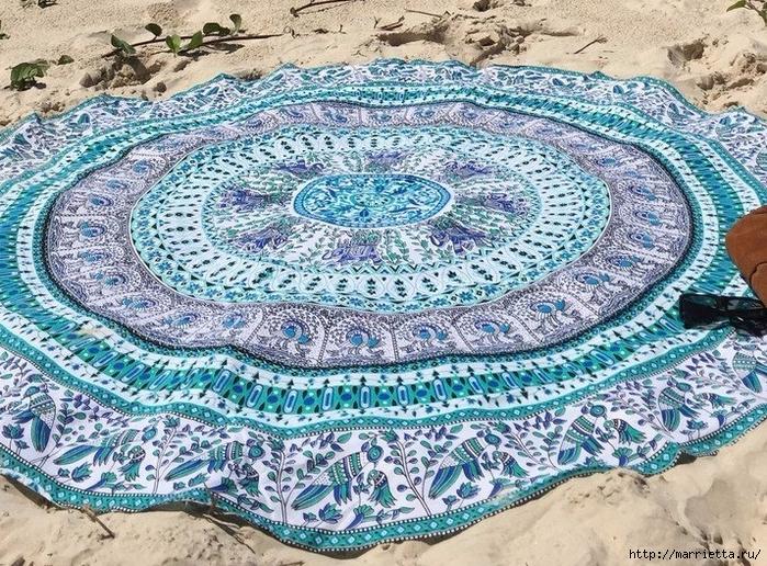 Мягкое изголовье кровати своими руками из коврика-мандалы (3) (700x516, 480Kb)