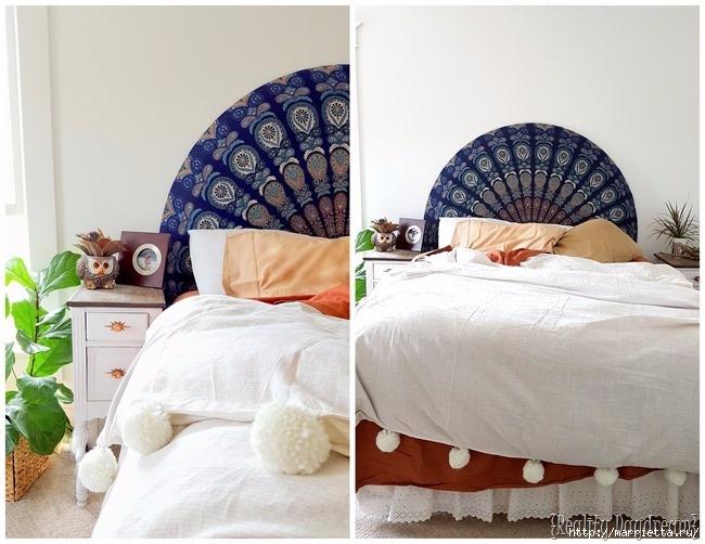 Мягкое изголовье кровати своими руками из коврика-мандалы (21) (650x502, 196Kb)