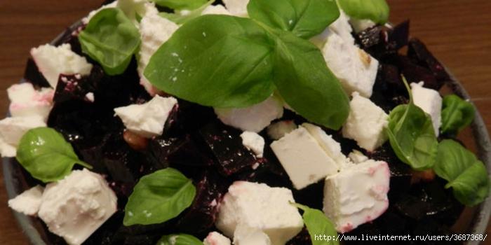 Салат из свёклы с орехами, фетой и базиликом (700x350, 165Kb)