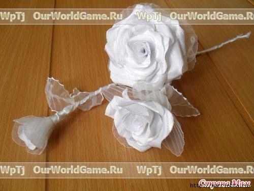 Розы из ткани и свадебная корзинка из картона своими руками (9) (500x375, 94Kb)