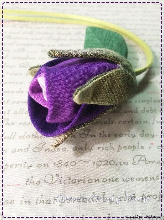 Розы из ткани. Подвеска для брелка своими руками (10) (524x700, 320Kb)