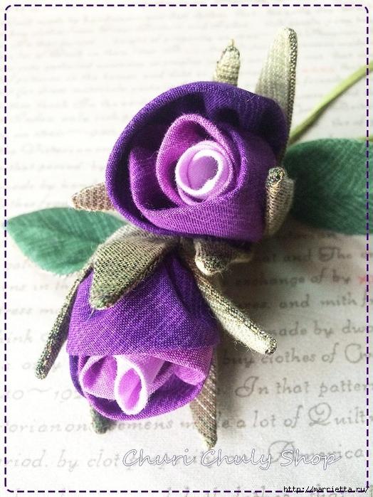Розы из ткани. Подвеска для брелка своими руками (18) (524x700, 303Kb)