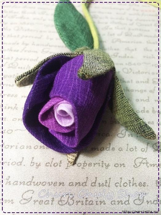 Розы из ткани. Подвеска для брелка своими руками (31) (524x700, 327Kb)