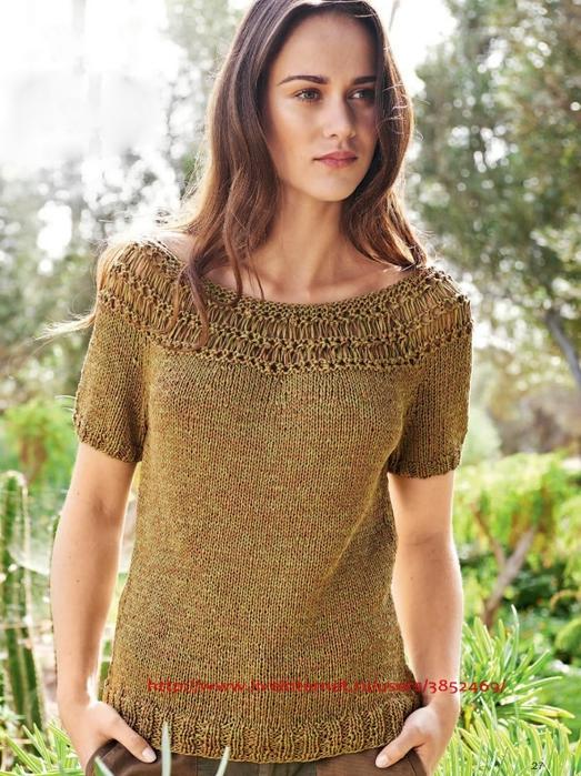 Пуловер с кокеткой схема описание (523x700, 324Kb)