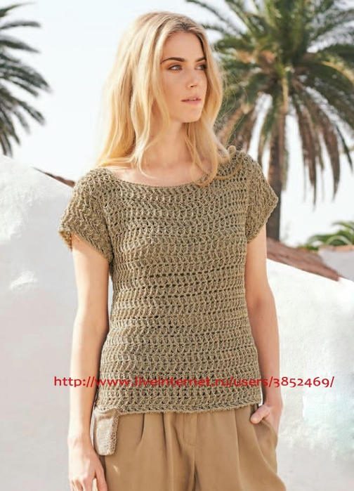 Пуловер с карманами схема описание (504x700, 226Kb)