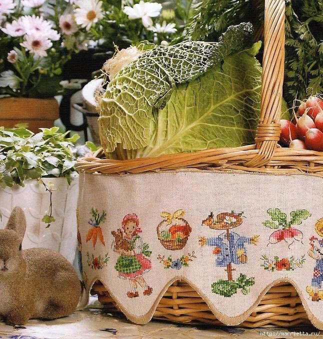 Вышивка крестом для корзинки с овощами. Схема (646x678, 504Kb)