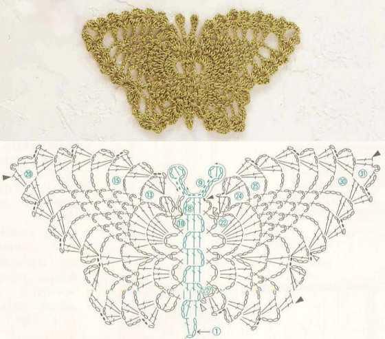 вязання бабочок крючком схеми