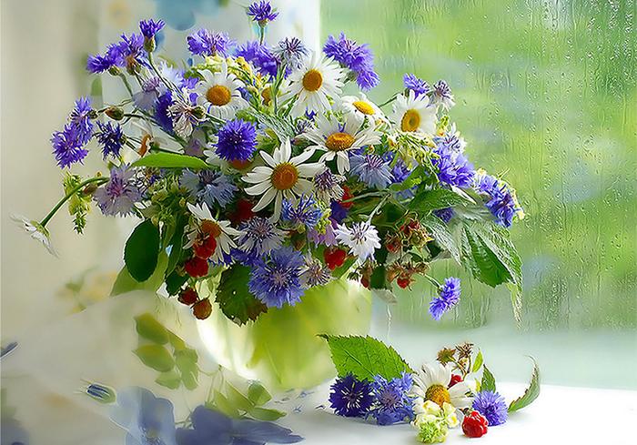 живопись цветы на подоконнике 23 (700x489, 517Kb)
