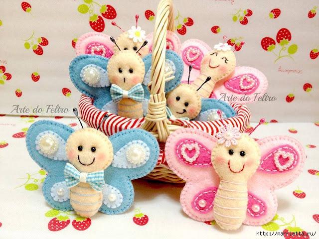 Бабочки из фетра. Игрушки для детской комнаты (1) (640x480, 256Kb)