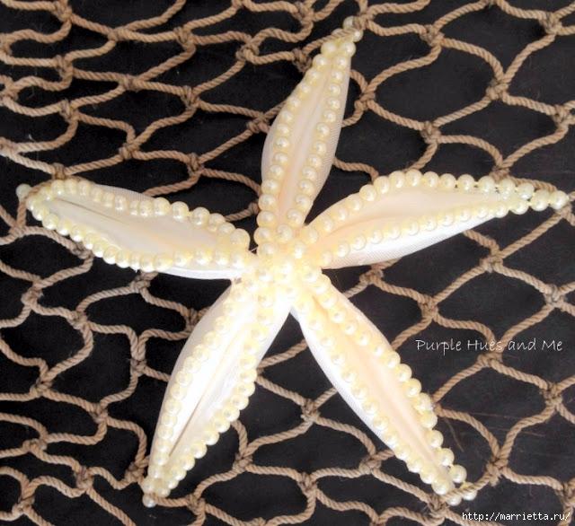 Морская звезда из лент и бисера (11) (640x586, 259Kb)