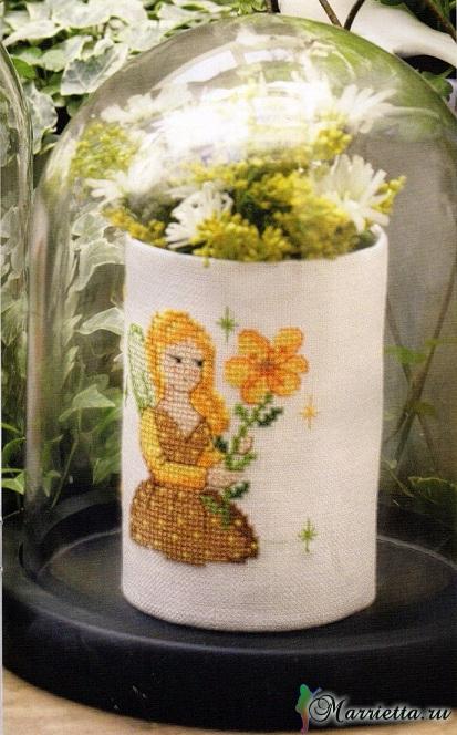 Цветы и цветочные феи для декора цветочных горшков. Вышивка (2) (413x664, 336Kb)