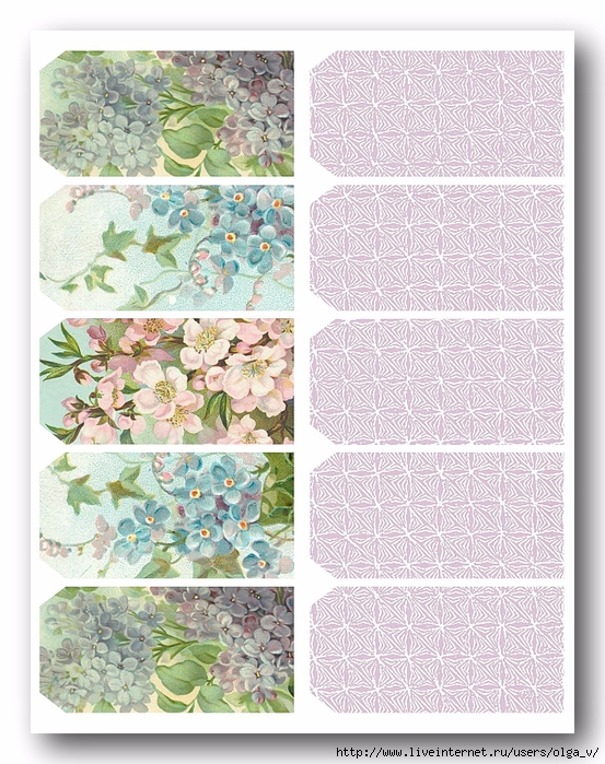 Tags - spring blossoms + lace - 10 printable (553x700, 369Kb)
