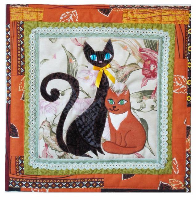 лоскутные одеяла с кошками 3 (635x649, 516Kb)